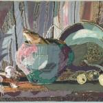 autor: Aneta Głębicka; tytuł: Martwa natura; technika: haft, aplikacja; rok: 2008/2009; wymiary: 50x70cm; nauczyciel prowadzący: Marta Wasilczyk, Anna Łoś