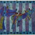 autor: Anna Łapińska; tytuł: Karnawał wenecki; technika: batik; rok: 2009/2010; wymiary: 120x100cm; nauczyciel prowadzący: Marta Wasilczyk, Anna Łoś