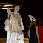 Carnival ball on February 7, 2013 in the auditorium of ZSP in Lublin. A student dressed up in the style of the Roman Empire. Waving your hand towards the lens. Clicking on the image thumbnail will display the enlarged photo.