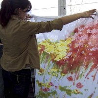 A student watches a fabric work at a textile art workshop at the ZSP studio in Lublin. Clicking on the image thumbnail will display the enlarged photo.