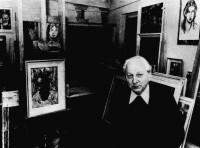 Edward Nadulski w pracowni przy ul. Marchlewskiego 9, 1974