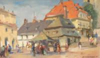 Obraz Andrzeja Kołodziejka przedstawiający pejzaż - rynek Kazimierza Dolnego nad Wisłą. Kliknięcie w miniaturkę obrazka spowoduje wyświetlenie powiększonego zdjęcia.