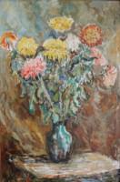 Praca malarska, martwa natura - kwiaty w wazonie, autor: Teodor Gałysz. Kliknięcie w miniaturkę obrazka spowoduje wyświetlenie powiększonego zdjęcia.