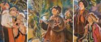 Tryptyk ludowy, dwie wiejski dziewczyny i po dwóch na każdym obrazie wiejskich chłopców. Scenki rodzajowe na tle wiejskiej przyrody. Kliknięcie w miniaturkę obrazka spowoduje wyświetlenie powiększonego zdjęcia.