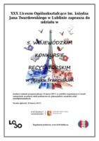 Plakat informacyjny o konkursie z Wieżą Eiffla. Kliknięcie w miniaturkę obrazka spowoduje wyświetlenie powiększonego zdjęcia.
