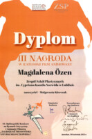 Dyplom dla Magdaleny Özen. Kliknięcie w miniaturkę obrazka spowoduje wyświetlenie powiększonego zdjęcia.