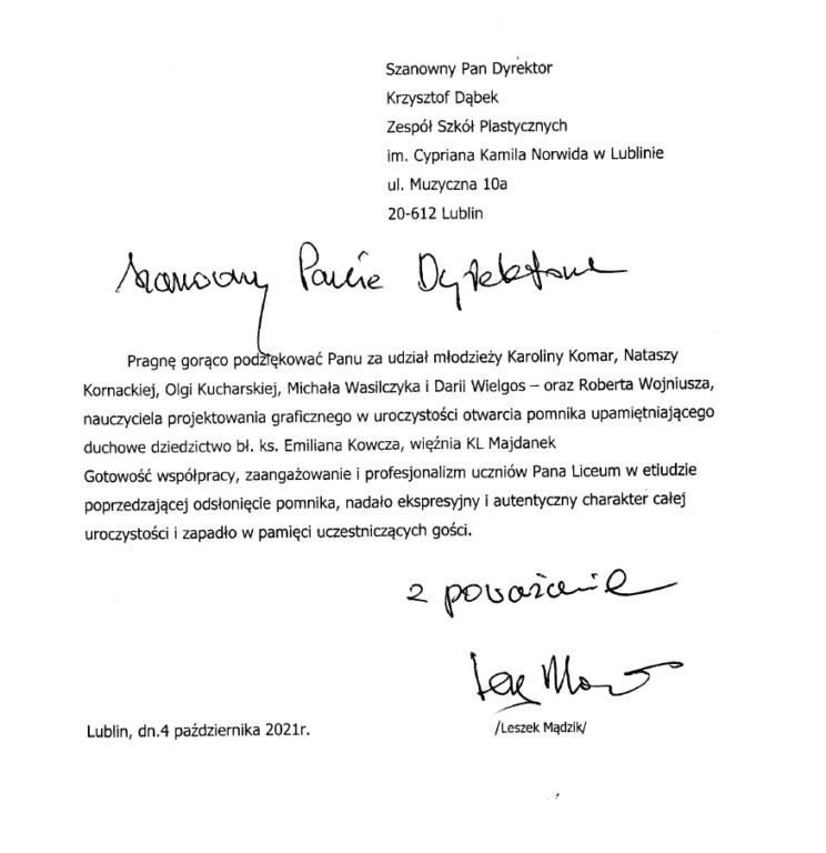 Skan listu z podziękowaniem od Leszka Mądzika do Dyrektora ZSP w Lublinie