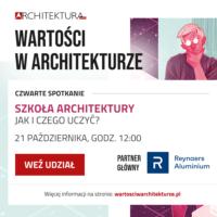 Plakat wydarzenia Wartości w architekturze – Szkoła architektury
